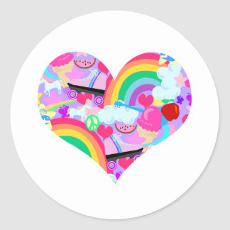 Epic Eighties Explosion Heart Round Sticker