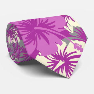Epic Floral Hibiscus Hawaiian Radiant Orchid Tie