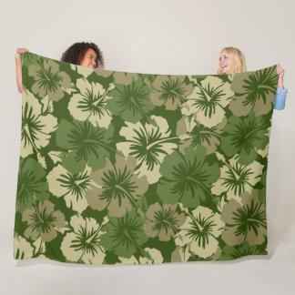 Epic Hibiscus Hawaiian Floral Aloha - Camo Fleece Blanket