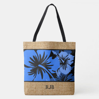 Epic Hibiscus Hawaiian Floral Monogram Beach Bag