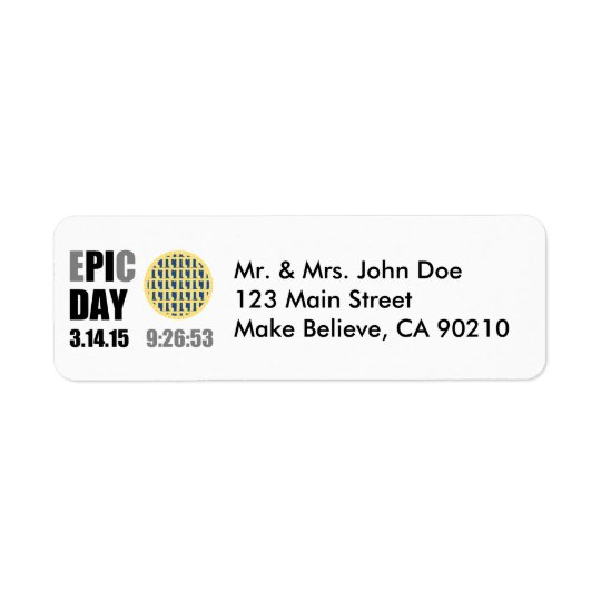 "Epic Pi Day - E""PI""C Day Blueberry Lattice Pie Return Address Label"