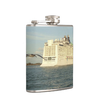 Epic Pursuit - Bird Following Cruise Ship Hip Flask