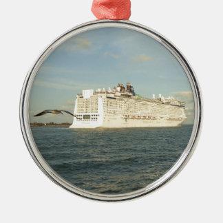Epic Pursuit - Bird Follows Cruise Ship Silver-Colored Round Decoration
