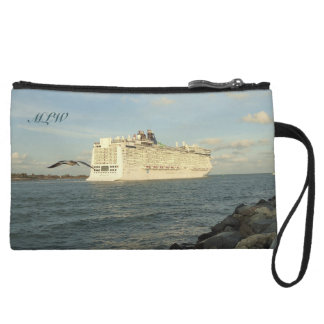 Epic Pursuit - Gull and Cruise Ship Monogrammed Wristlet Purse
