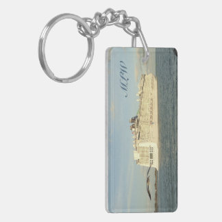 Epic Pursuit - Gull Behind Cruise Ship Monogrammed Key Ring