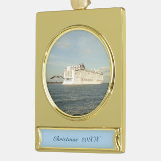 Epic Pursuit - Gull Follows Cruise Ship Dated Gold Plated Banner Ornament