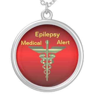 Epilepsy Medical Alert Asclepius Caduceus Necklac Silver Plated Necklace