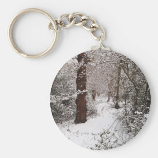 Epping Forest in the snow. Basic Round Button Key Ring