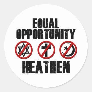 Equal Opportunity Heathen Classic Round Sticker