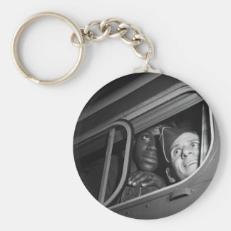 Equal Opportunity War, 1940s Basic Round Button Key Ring