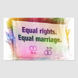Equal Rights Equal Marriage Rectangular Sticker