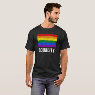 Equality LGBTQ Gay Pride Rainbow Flag Distressed T-Shirt