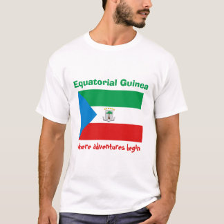 Equatorial Guinea Flag + Map + Text T-Shirt