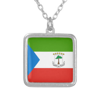 Equatorial Guinea Flag Silver Plated Necklace