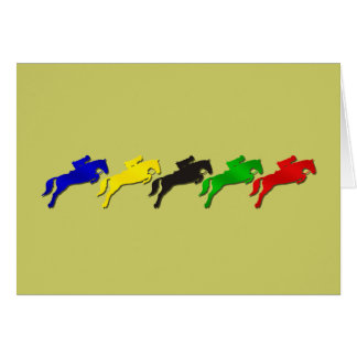 Equestrian dressage and show jumping horse greeting card