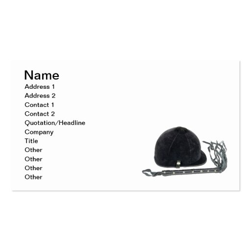 Equestrian Helmet and Whip Business Card