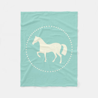 Equestrian horse silhouette fleece blanket (teal)