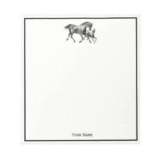 Equestrian Horses Mother Baby Foal Framed Notepads