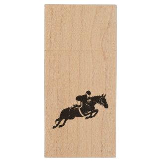 Equestrian Jumper Wood USB Flash Drive