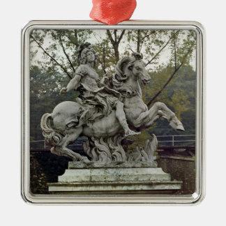 Equestrian Portrait of Louis XIV 2 Silver-Colored Square Decoration