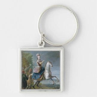 Equestrian Portrait of Maria Leszczynska Silver-Colored Square Key Ring