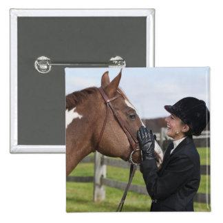 Equestrian rider 15 cm square badge