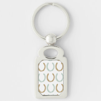 Equestrian Themed Horse Shoes Pattern Silver-Colored Rectangular Metal Keychain
