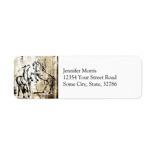 Equine Art Rearing Horses Return Address Label