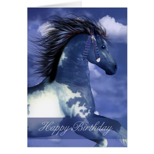 Equine Birthday Card North American Indian Style