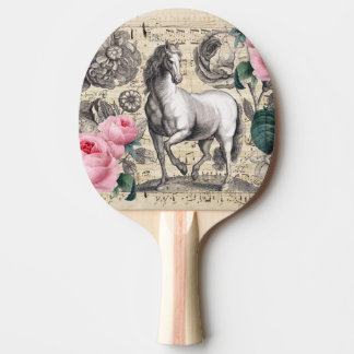 equine vintage music ping pong paddle