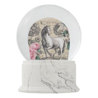equine vintage music snow globe