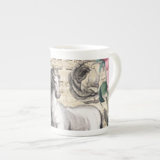 equine vintage music tea cup