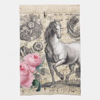 equine vintage music tea towel