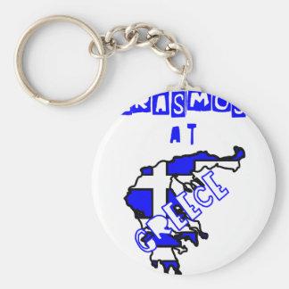 ERASMUS AT Greece Basic Round Button Key Ring