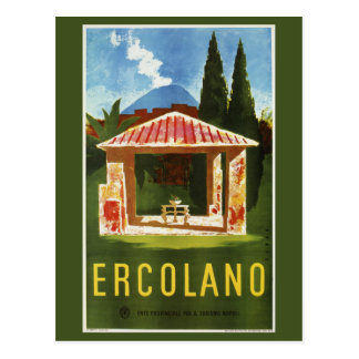Ercolano Naples Italian summer travel ad Postcard