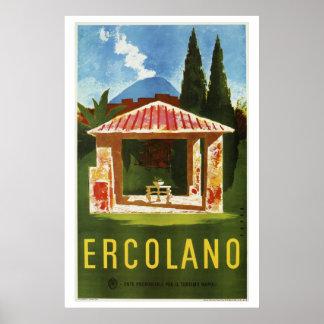 Ercolano Naples Italian summer travel ad Poster