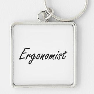 Ergonomist Artistic Job Design Silver-Colored Square Key Ring