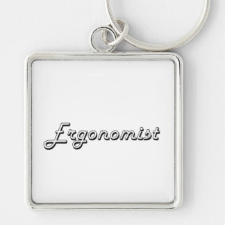 Ergonomist Classic Job Design Silver-Colored Square Keychain