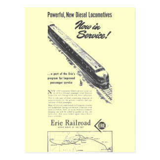 Erie Railroad 1948 New Diesel Locomotives Postcard