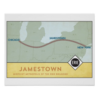 Erie Railroad Map Poster (16 x 20)