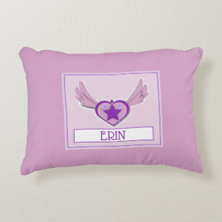 Erin Cute Girly Heart and Wings Accent Pillow