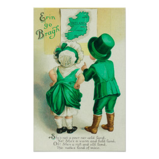 Erin Go Bragh Couple Looking at Ireland Map Poster
