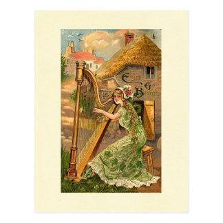Erin Go Bragh Harp Woman Postcard