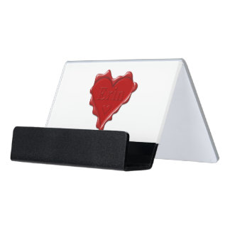 Erin. Red heart wax seal with name Erin Desk Business Card Holder