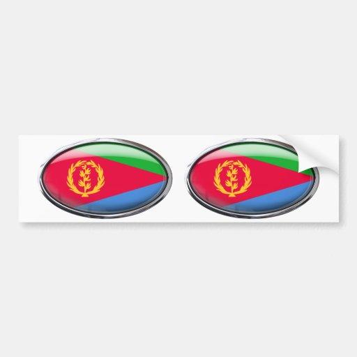 Eritrea Flag in Glass Oval Bumper Stickers