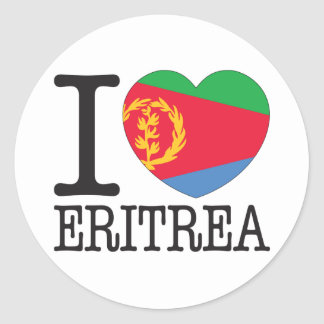 Eritrea love v2 classic round sticker