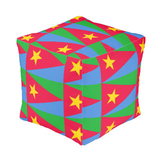 Eritrean Flag Custom Polyester Cubed Pouf (Small)