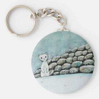 Ermine in the snow basic round button key ring
