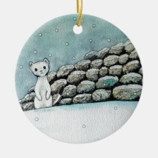 Ermine in the snow ceramic ornament