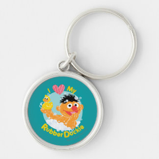 Ernie Loves Duckie Silver-Colored Round Key Ring